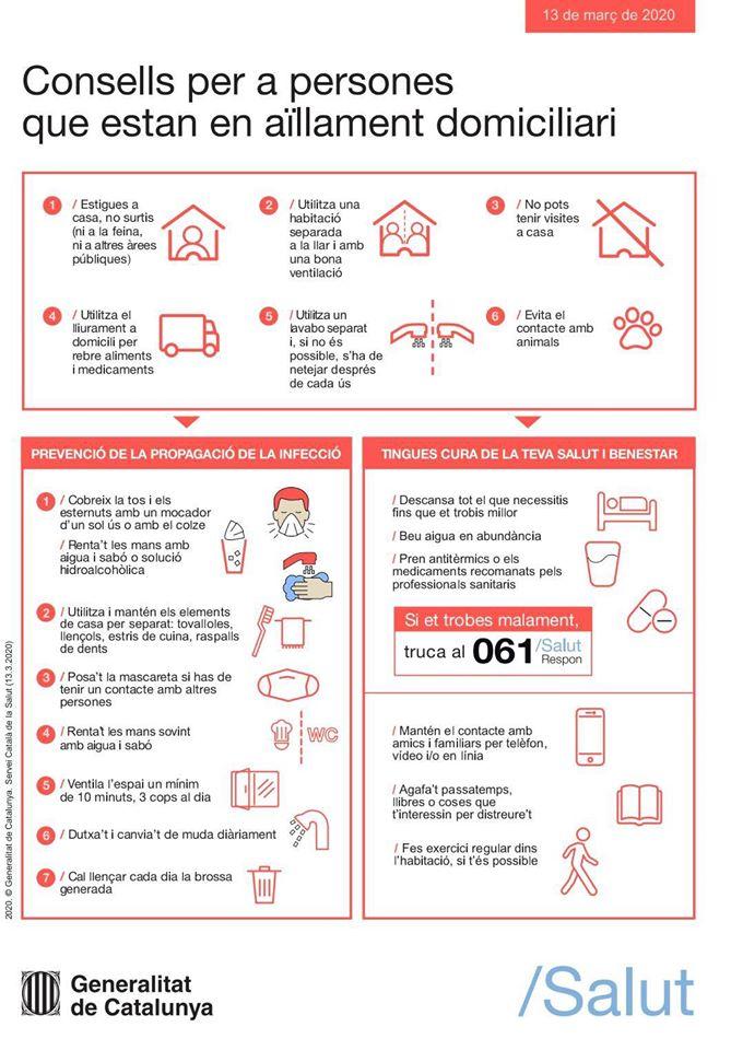 Consell per persones amb aillament domiciliari